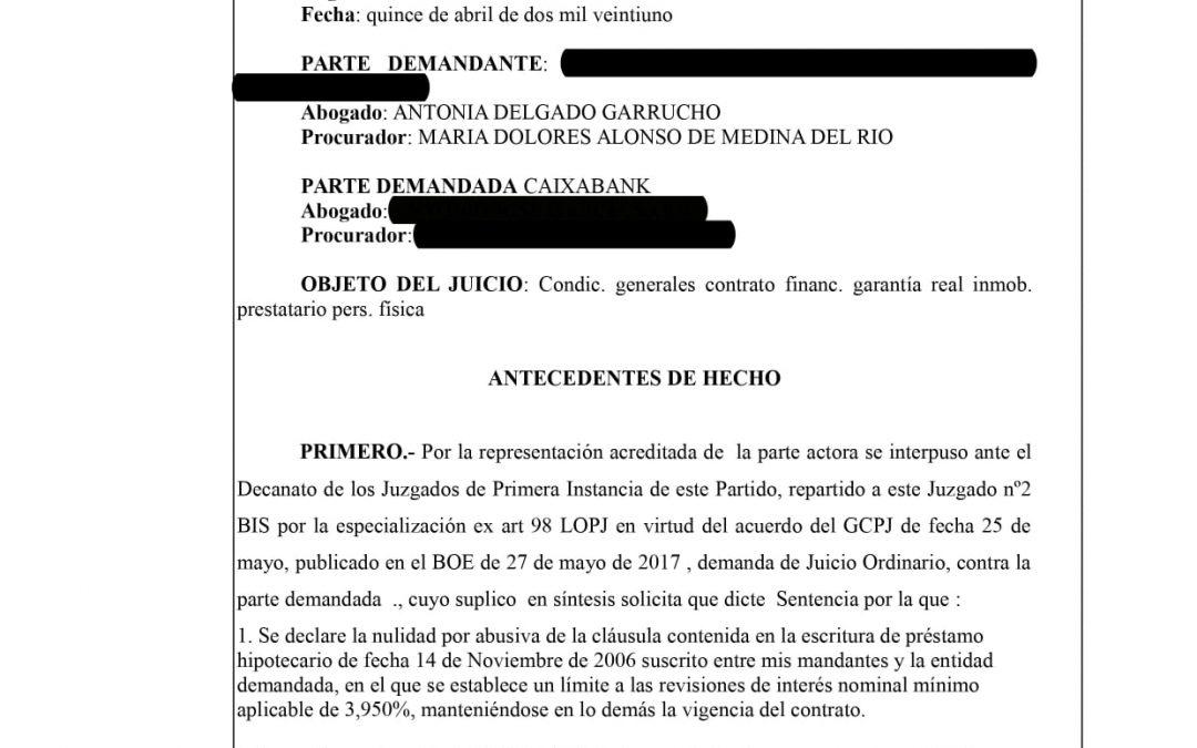 DELGADO GARRUCHO ABOGADOS CONTINUA GANANDO PROCEDIMIENTOS JUDICIALES CONTRA LA BANCA POR ABUSIVIDAD EN PRESTAMOS HIPOTECARIOS